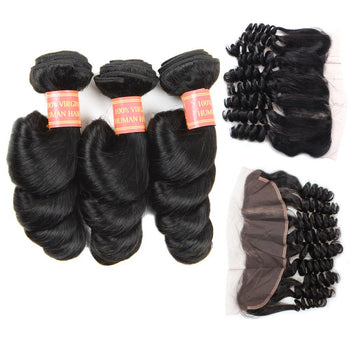 Indian Loose Wave Virgin Hair 3 Bundles with 13x4 Lace Frontal Closure - Urfirst Hair