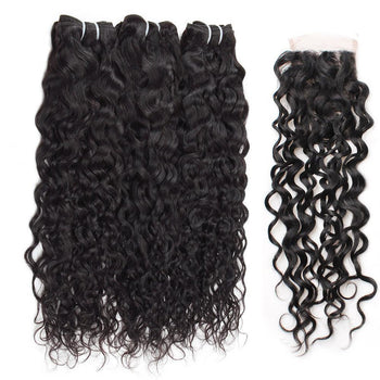 Malaysian Water Wave Virgin Hair 3 Bundles with 4x4 Lace Closure - ExcellentVirginHair