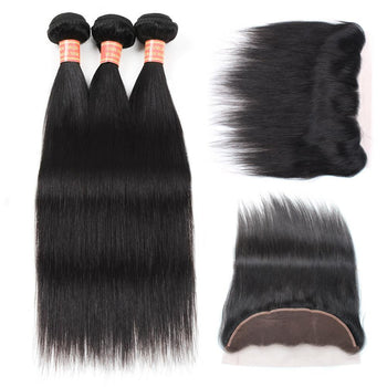 Indian Straight Virgin Hair 3 Bundles with 13x4 Lace Frontal Closure - ExcellentVirginHair