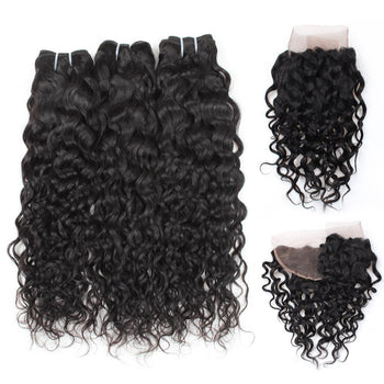 Ama Peruvian Water Wave Virgin Hair 3 Bundles with 13x4 Lace Frontal - ExcellentVirginHair