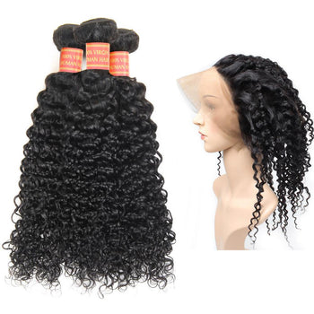 Malaysian Kinky Curly Hair 2 Bundles with 360 Lace Frontal Closure - Urfirst Hair