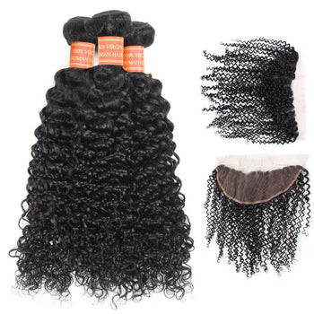 Peruvian Curly Virgin Hair 3 Bundles with 13x4 Lace Frontal Closure - ExcellentVirginHair