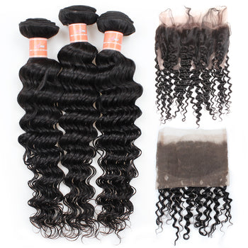 Ama Malaysian Deep Wave Virgin Hair 2 Bundles with 360 Lace Frontal Closure - ExcellentVirginHair