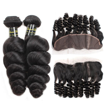 Funmi Peruvian Virgin Loose Wave Hair 3 Bundles With Lace Frontal - ExcellentVirginHair