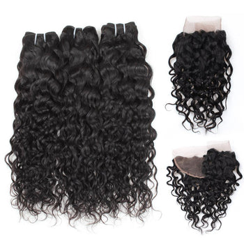Peruvian Water Wave Virgin Hair 3 Bundles with 13x4 Lace Frontal - ExcellentVirginHair