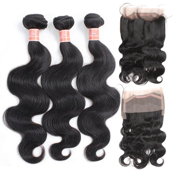 Ama Malaysian Body Wave Human Hair 2 Bundles with 360 Lace Frontal Closure - ExcellentVirginHair