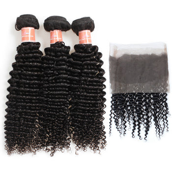 Ama Malaysian Kinky Curly Hair 2 Bundles with 360 Lace Frontal Closure - ExcellentVirginHair