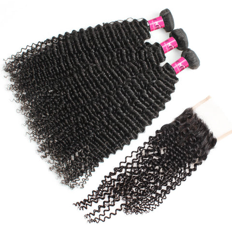 Malaysian Kinky Curly Hair 3 Bundles With 4x4 Lace Closure