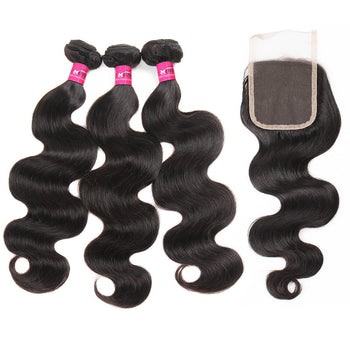 Peruvian Body Wave Hair 3 Bundles With 4x4 Lace Closure - ExcellentVirginHair