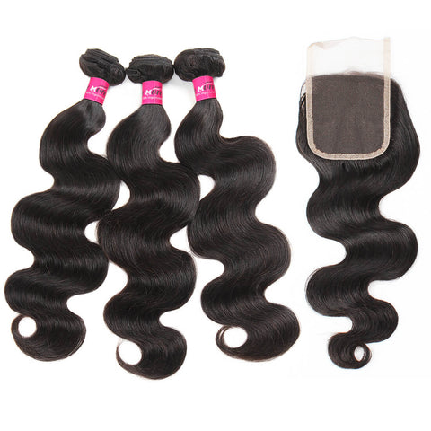 Peruvian Body Wave Hair 3 Bundles With 4x4 Lace Closure