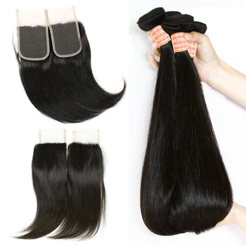Peruvian Virgin Straight Human Hair 3 Bundles with Lace Closure - ExcellentVirginHair