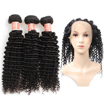Ama Peruvian Curly Hair 2 Bundles with 360 Lace Frontal Closure - ExcellentVirginHair
