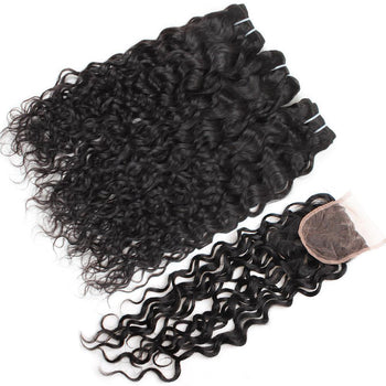 Peruvian Virgin Hair Water Wave 3 Bundles with 4x4 Lace Closure - ExcellentVirginHair