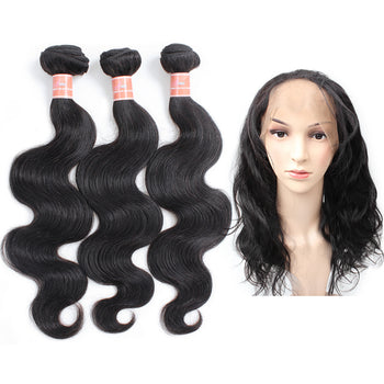 Ama Peruvian Body Wave Human Hair 2 Bundles with 360 Lace Frontal Closure - ExcellentVirginHair