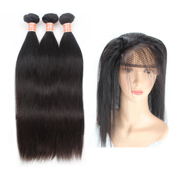 Ama Malaysian Straight Human Hair 2 Bundles with 360 Lace Frontal Closure - ExcellentVirginHair
