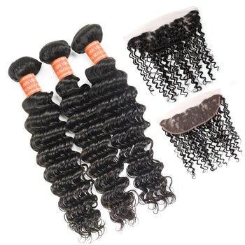 Indian Deep Wave Virgin Hair 3 Bundles with Lace Frontal Closure - ExcellentVirginHair