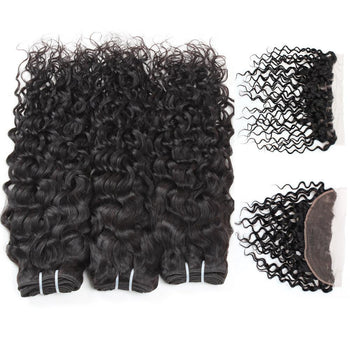 Malaysian Water Wave Virgin Hair 3 Bundles with 13x4 Lace Frontal Closure - ExcellentVirginHair