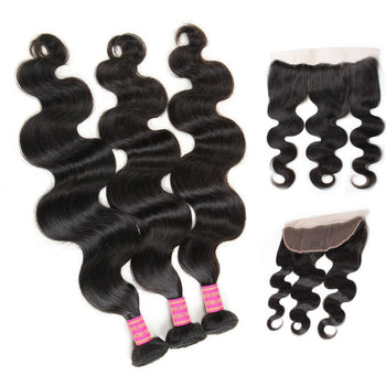 Malaysian Body Wave Virgin Hair 3 Bundles with 13x4 Lace Frontal - ExcellentVirginHair