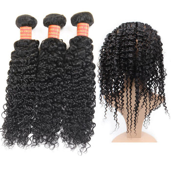 Indian Curly Hair 2 Bundles with 360 Lace Frontal Closure - ExcellentVirginHair