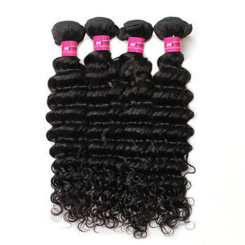 Brazilian Deep Wave Virgin Hair 4 Bundles Deals Human Hair Weaving Extensions - ExcellentVirginHair