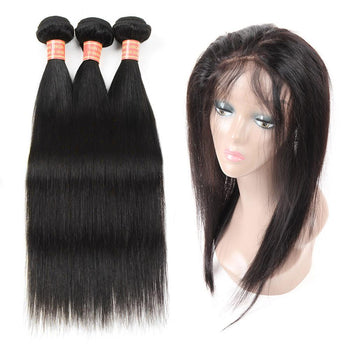 Indian Straight Human Hair 2 Bundles with 360 Lace Frontal Closure - ExcellentVirginHair