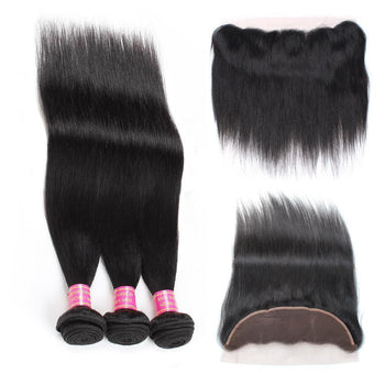 Malaysian Straight Virgin Hair 3 Bundles with 13x4 Lace Frontal Closure - ExcellentVirginHair