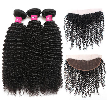 Peruvian Curly Wave Virgin Hair 3 Bundles With 13x4 Lace Frontal - ExcellentVirginHair