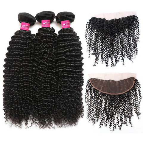Peruvian Curly Wave Virgin Hair 3 Bundles With 13x4 Lace Frontal