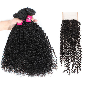 Peruvian Kinky Curly Hair 4 Bundles With Lace Closure - ExcellentVirginHair