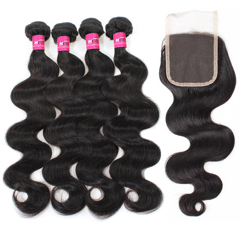 Peruvian Body Wave Hair 4 Bundles With Lace Closure