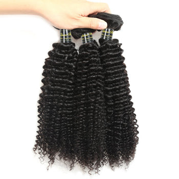 Funmi Unprocessed Brazilian Kinky Curly Virgin Human Hair 3 Bundles Weave Extensions - ExcellentVirginHair