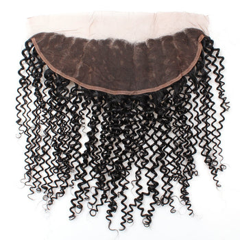 Ama Indian Curly Virgin Human Hair 13x4 Ear to Ear Lace Frontal Closure 1pc/lot - ExcellentVirginHair