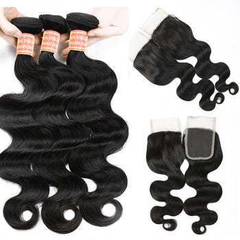 Unprocessed Brazilian Body Wave Human Hair 3 Bundles with Lace Closure - Urfirst Hair