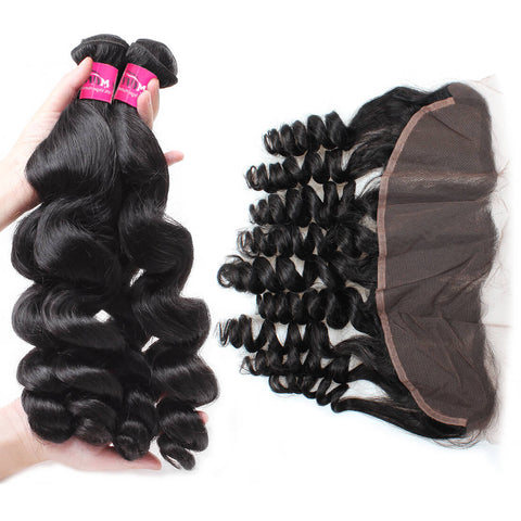 Malaysian Loose Wave Virgin Hair 3 Bundles With 13x4 Lace Frontal