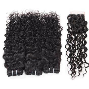 Ama Indian Water Wave Human Hair 3 Bundles With 4x4 Lace Closure - ExcellentVirginHair