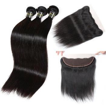 Funmi Peruvian Virgin Straight Hair 3 Bundles With Lace Frontal - ExcellentVirginHair