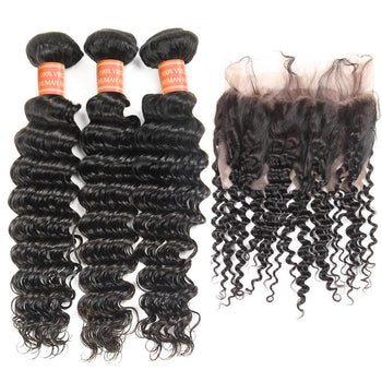 Peruvian Deep Wave Virgin Ama Hair 2 Bundles with 360 Lace Frontal Closure - ExcellentVirginHair