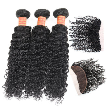 Malaysian Curly Virgin Hair 3 Bundles with 13x4 Lace Frontal Closure - ExcellentVirginHair
