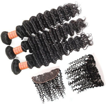 Malaysian Deep Wave Virgin Hair 3 Bundles with 13x4 Lace Frontal Closure - ExcellentVirginHair