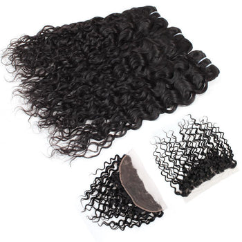 Brazilian Water Wave Virgin Hair 3 Bundles with 13x4 Lace Frontal - ExcellentVirginHair