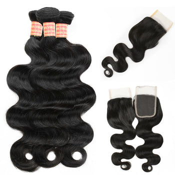 Peruvian Virgin Human Hair Body Wave 3 Bundles with 4x4 Lace Closure - ExcellentVirginHair