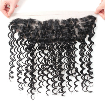 Malaysian Deep Wave Human Hair 13x4 Ear To Ear Lace Frontal Closure 1pc/lot - ExcellentVirginHair