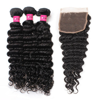 Peruvian Deep Wave Hair 3 Bundles With 4x4 Lace Closure - ExcellentVirginHair