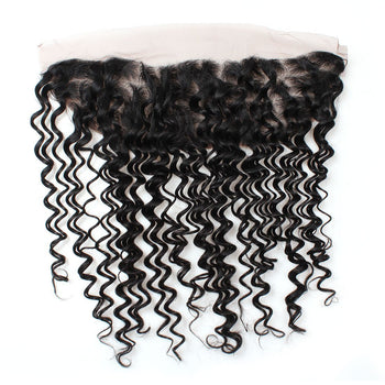 Indian Virgin Hair Deep Wave Wave Lace Frontal 13x4 Ear To Ear Closure - ExcellentVirginHair