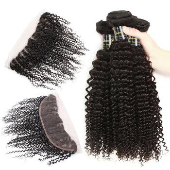 Funmi Peruvian Virgin Kinky Curly Hair 3 Bundles With Lace Frontal - ExcellentVirginHair