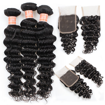 Peruvian Deep Wave Ama Hair 4 Bundles with Lace Closure - ExcellentVirginHair