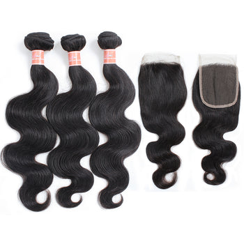 Ama Unprocessed Brazilian Body Wave Human Hair 3 Bundles with Lace Closure - ExcellentVirginHair