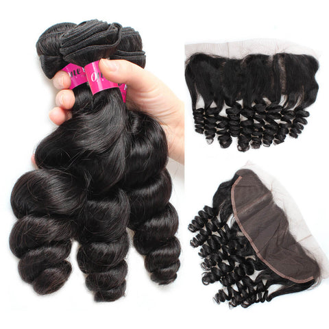 Peruvian Loose Wave Virgin Hair 3 Bundles With 13x4 Lace Frontal