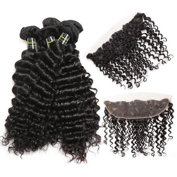 Funmi Indian Virgin Deep Wave Hair 3 Bundles With Lace Frontal - ExcellentVirginHair