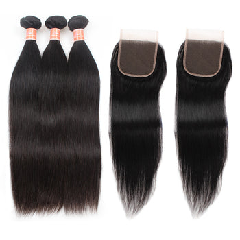 Ama Indian Straight Hair 4 Bundles with Lace Closure - ExcellentVirginHair